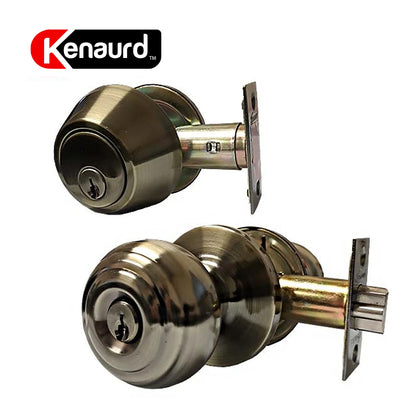 Knob & Deadbolt Combo Lockset G3 Antique Brass KBL01-AB-KW1