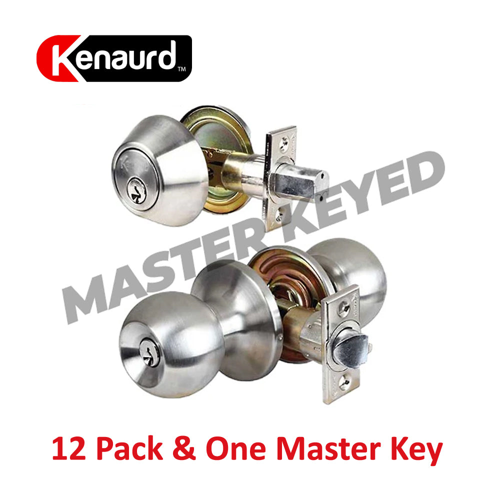 Knob & Deadbolt Combo Lockset Satin Chrome & Master Key KCL01M-SS-SC1 (12 Pack)