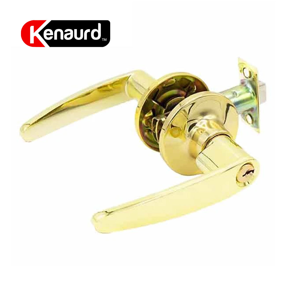 Design #2 Entrance Leverset Grade 3 Bright Brass KLE02-BB-SC1
