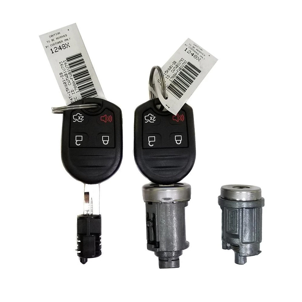 2011 - 2017 Ford Remote Key Coded Ignition Lock Set (Two Remote Head Keys 4B, Ignition, Door and Glove Box Locks)