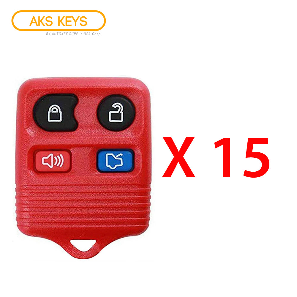 1996 - 2013 Ford Remote Control 4B (Red) FCC# CWTWB1U331 / CWTWB1U345 (15 Pack)