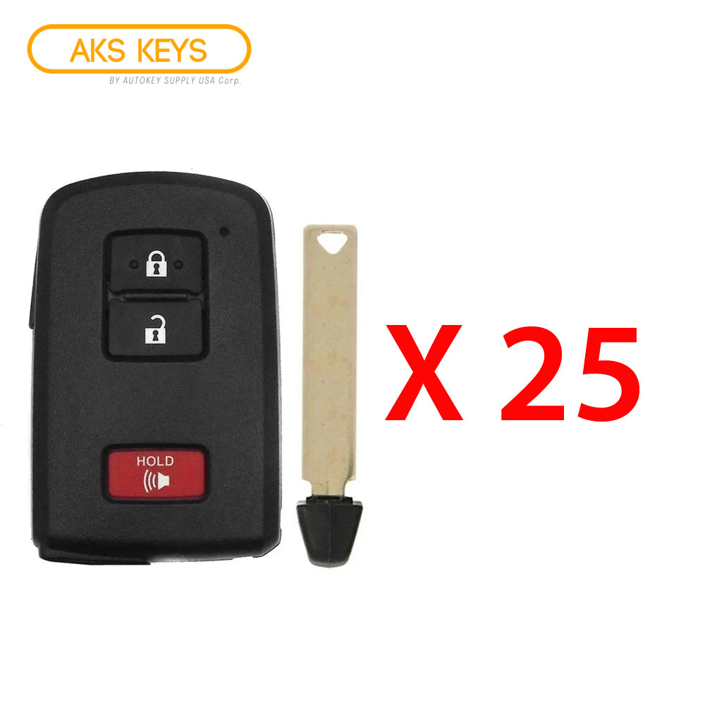 2012 - 2019 Toyota Smart Prox Remote Key 3B FCC# HYQ14FBA / 0020 (25 Pack)