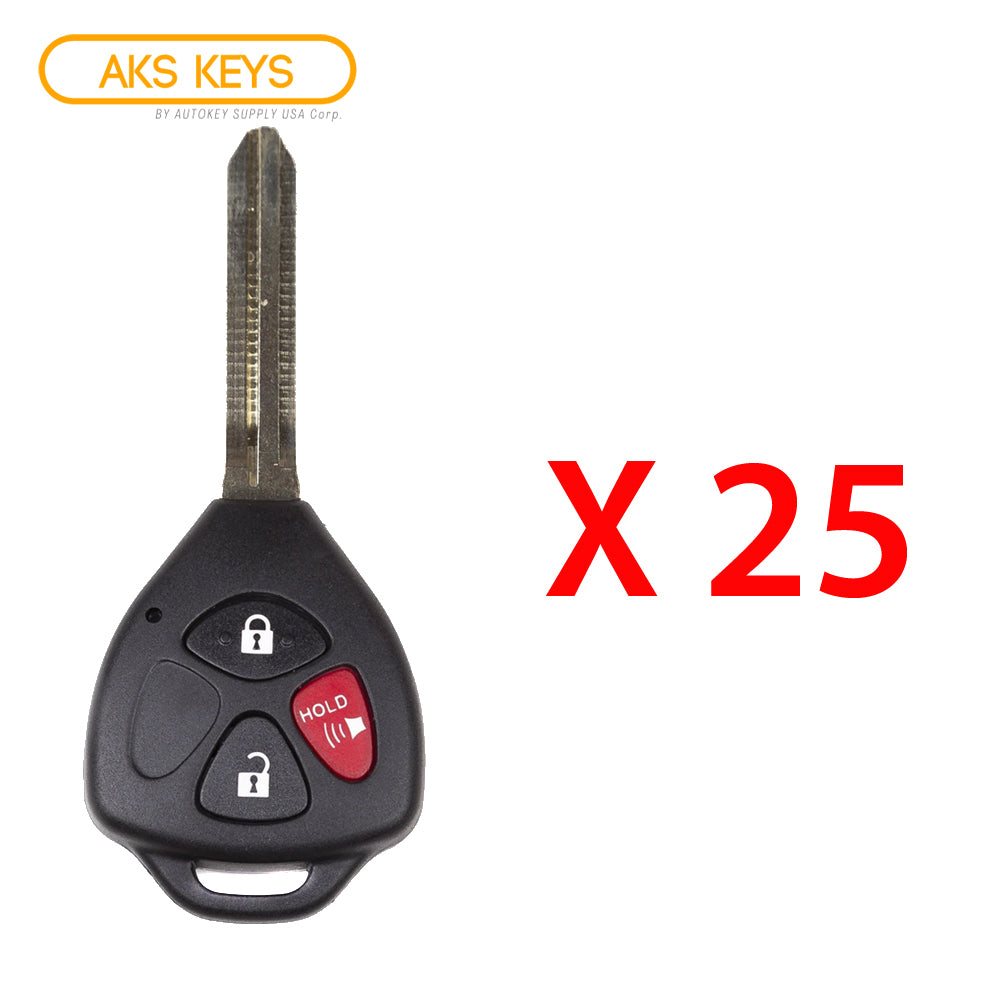 2007 - 2013 Toyota Yaris Remote Key 3B FCC# MOZB41TG - Non Chip (25 Pack)
