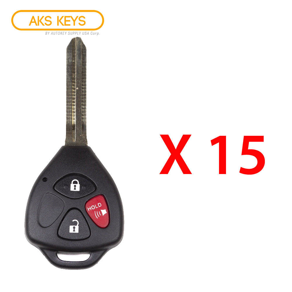 2016 - 2019 Toyota Yaris Remote Head Key 3B FCC# HYQ12BBY / Letter H Chip (15 Pack)