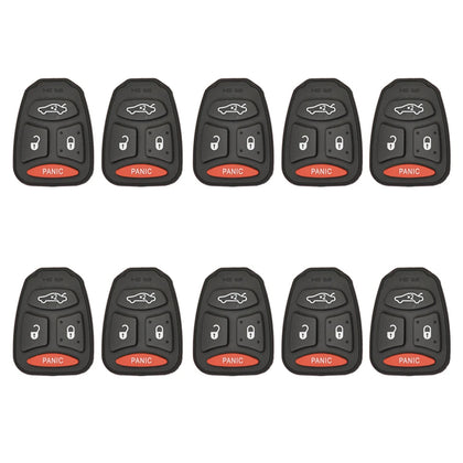 2004 - 2009 New Remote Control Key Keyless Fob Rubber Pad Buttons For Chrysler Dodge Jeep 4B (10 Pack)
