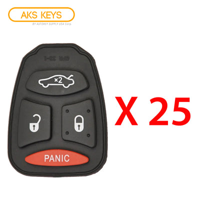 2004 - 2009 New Remote Control Key Keyless Fob Rubber Pad Buttons For Chrysler Dodge Jeep 4B (25 Pack)