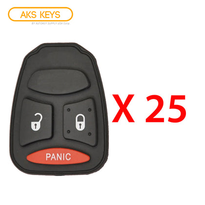 2004 - 2007 New Remote Control Key Keyless Fob Rubber Pad Buttons For Dodge Mitsubishi 3B (25 Pack)