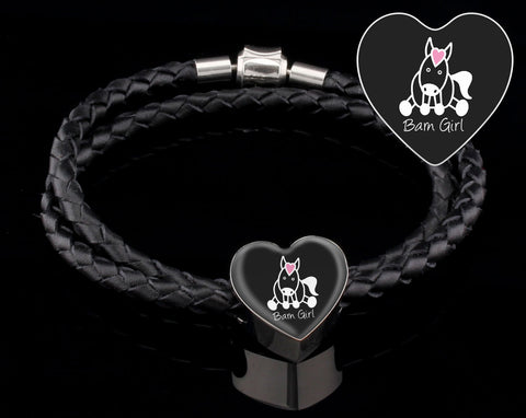 Midnight Black Double-Braided Bracelet With Heart Charm