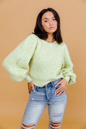 Reggie Fuzzy Sweater- Green/Yellow