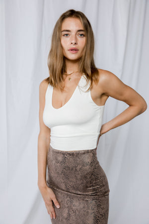 Shayna V-Neck Crop-Ivory
