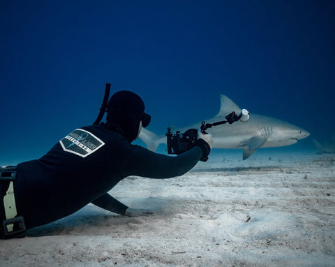 Freediver with Shark Attack OMNA Tourniquet Leash