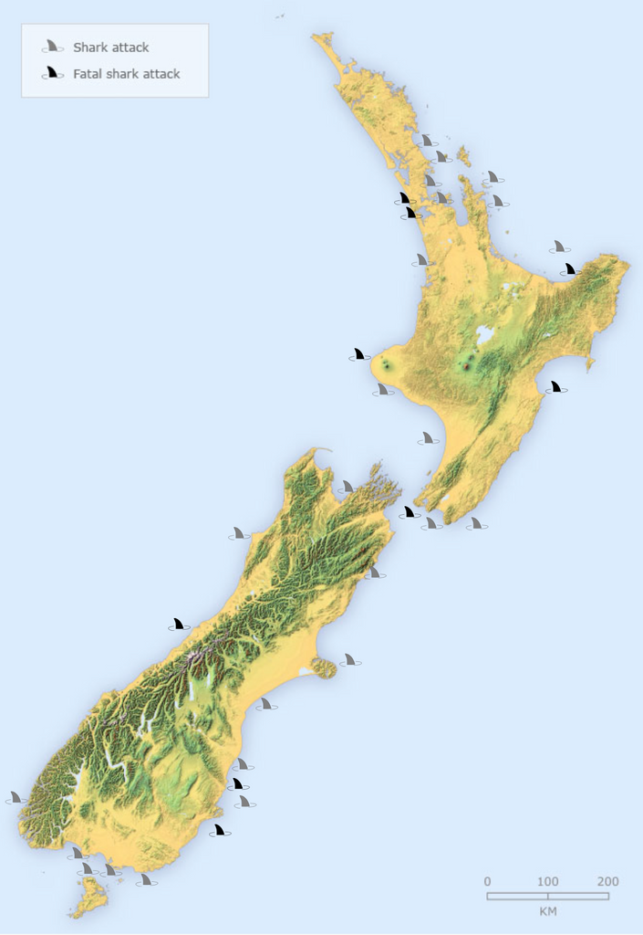 New Zealand Shark Attack Map