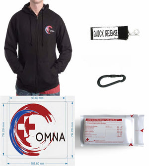 OMNA Accessories & Apparel - quick releases, marine carabiners, emergency pressure dressings, stickers, hoodies, hats, shirts.