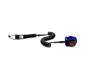 OMNA Mini Tourniquet Stand Up Paddleboard Leash - Blue - surfs seamlessly, and provides bleeding control for grom surfers