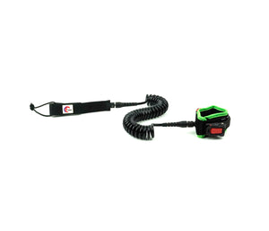 OMNA Mini Tourniquet Stand Up Paddleboard Leash - Neon Green - surfs seamlessly, and provides bleeding control for grom surfers