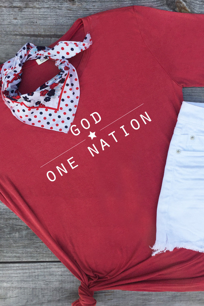 One Nation Under God Tee- Cherry