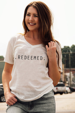 Redeemed V-Neck Tee: White