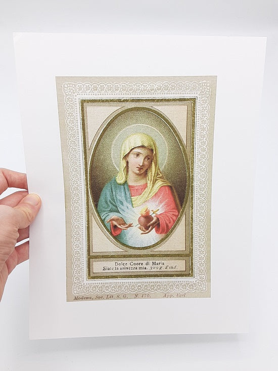 "Dolce Cuore di Maria – Sweet Heart of Mary – 8.5x11"" based on a Vintage Italian Holy Card – Catholic Art Print"