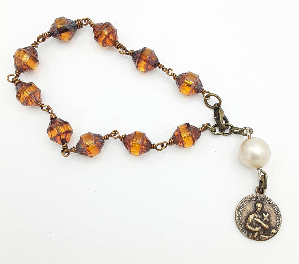 Bronze and Amber Color Rosary Bracelet