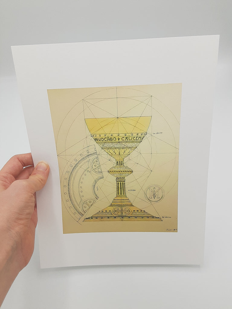"Eucharistic Chalice –8.5x11"" from a Benedictine Abbey's design – Catholic Art Print – Catholic Gift – Gift for Priest – Archival Quality"