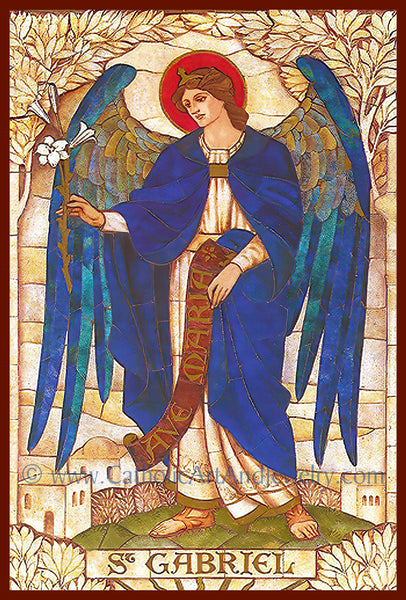 "Archangel Gabriel –8.5x11"" based on a Vintage Stained Glass Window – Art Nouveau – Catholic Art Print – Archival Quality"