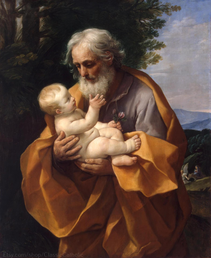 "St Joseph with the Christ Child in His Arms– 8.5x11"" – by Guido Reni"