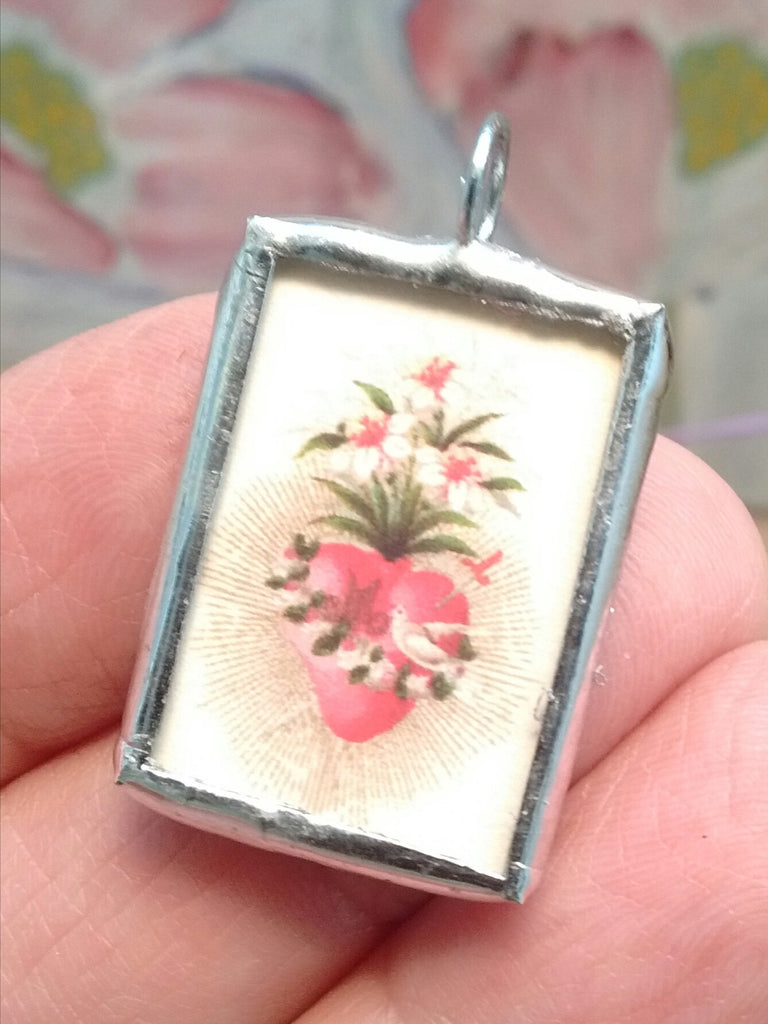 Vintage Image Immaculate Heart of Mary Pendant