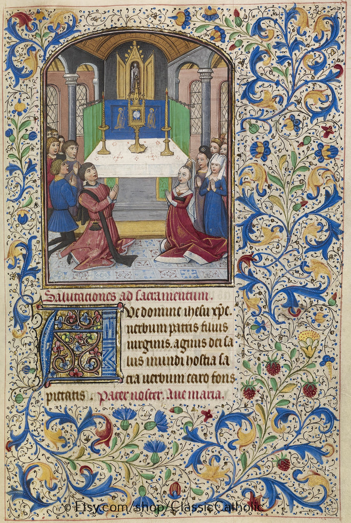 Illuminated Manuscript -- The Adoration of the Eucharist. – 8.5x11""