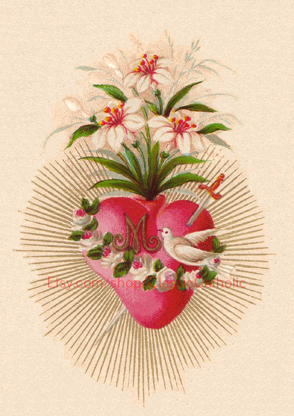 "Immaculate Heart of Mary –8.5x11"" based on a Vintage Holy Card"