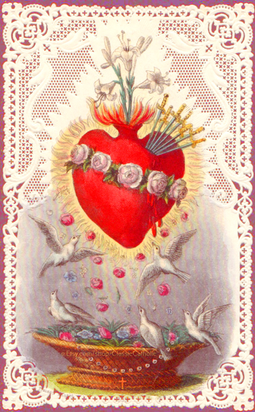 Immaculate Heart of Mary with Doves and Lace –8.5x11""