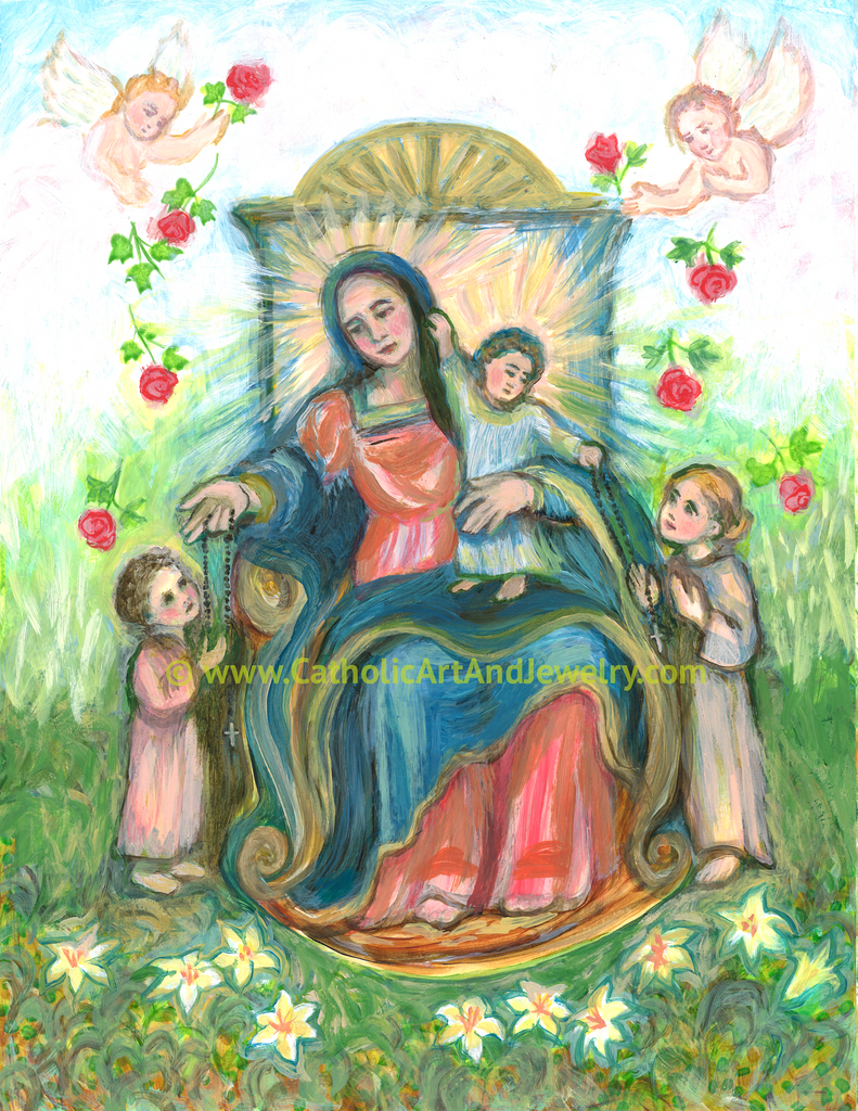 Our Lady of the Rosary Art print -- New!