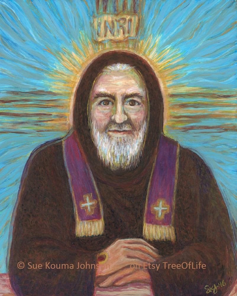 Padre Pio with Cross Art Print