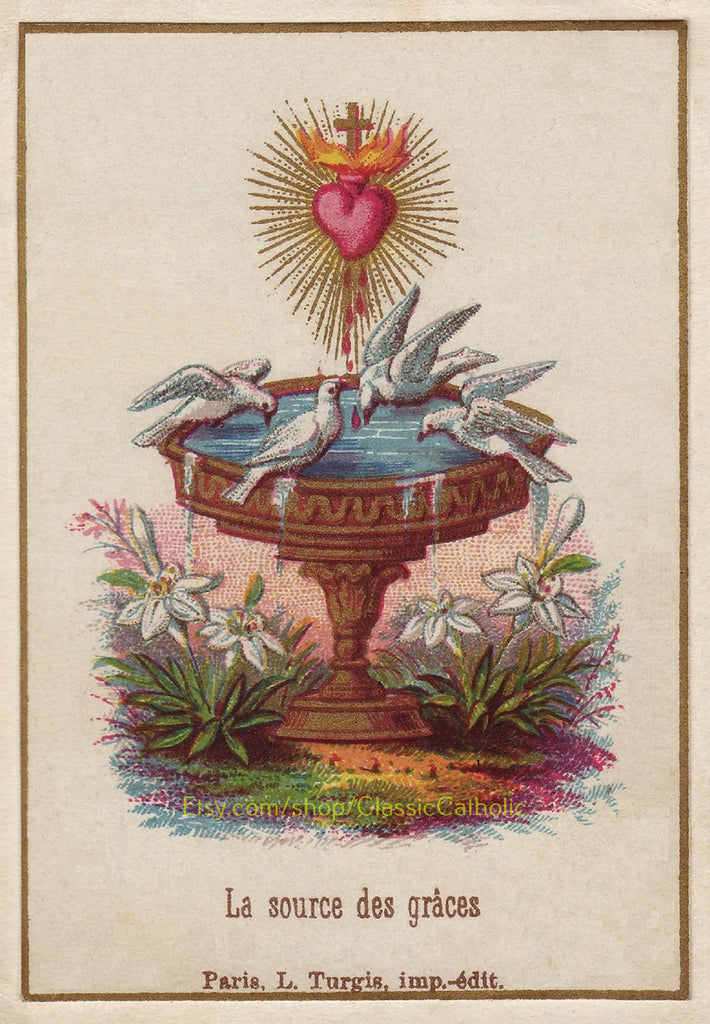 "Sacred Heart of Jesus with Doves – 8.5x11"" based on a Vintage Holy Card"