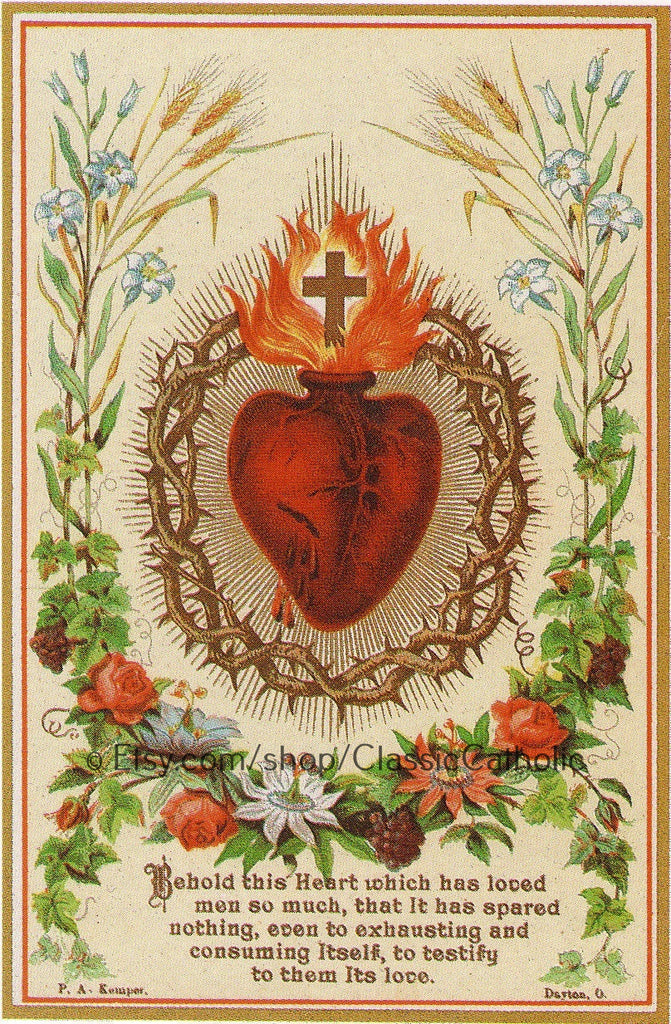 "Sacred Heart of Jesus – 8.5x11"" based on a Vintage Holy Card – New!"