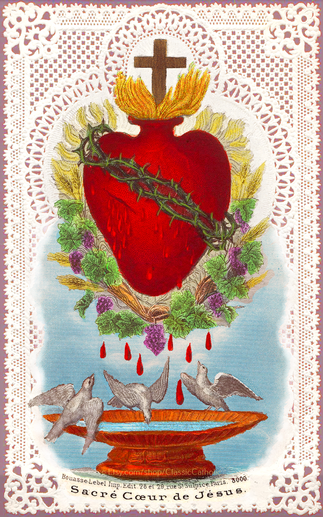 Sacred Heart of Jesus with Doves and Lace –8.5x11""