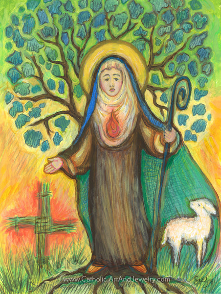 Saint Brigid of Ireland Print -- New!