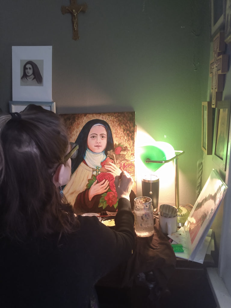 Sue Kouma Johnson painting St. Therese of Lisieux Shower of Roses Icon