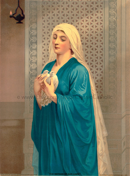 The Mother of Our Lord – 1879 Catholic American – 8.5x11""