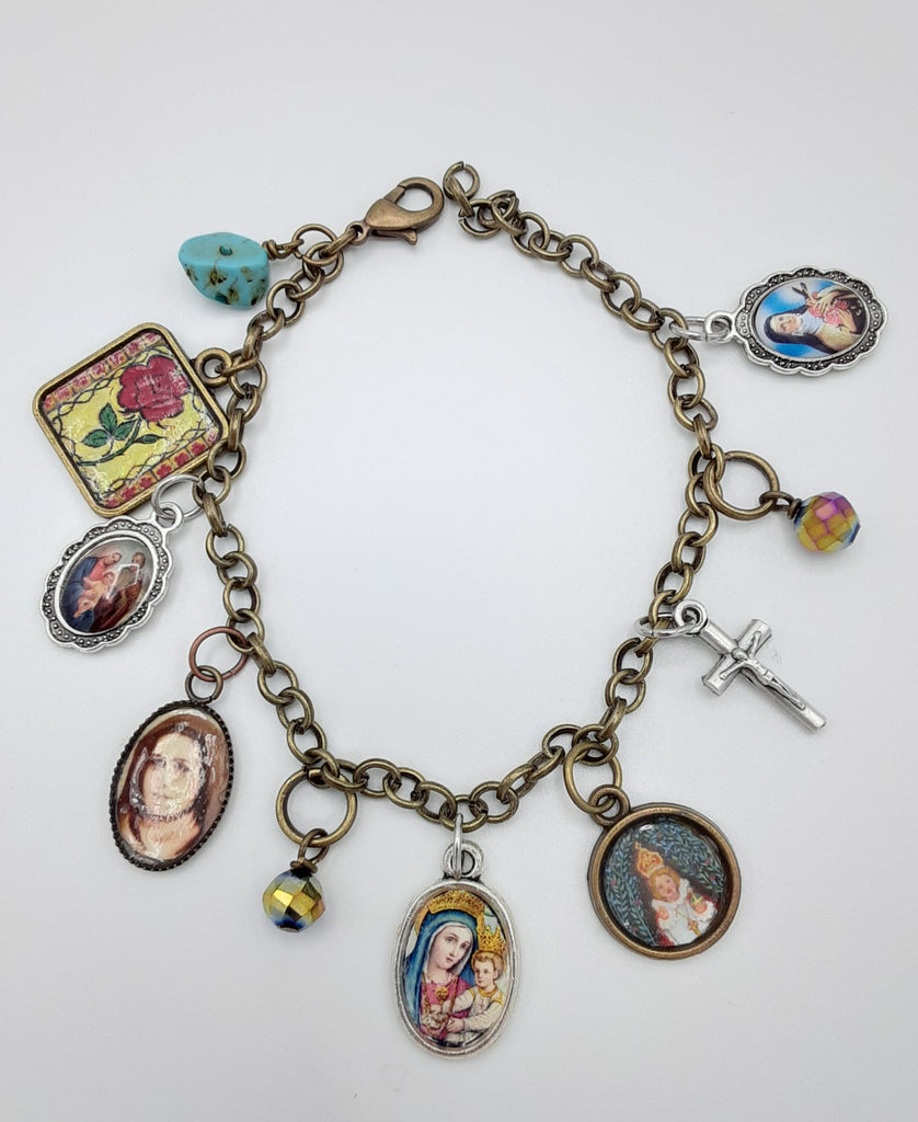 Therese of Lisieux Little Flower Charm Bracelet - New!