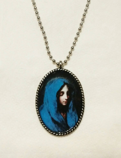 Blue Madonna Necklace