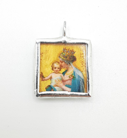 Teal and Gold Madonna and Christ Child Medal