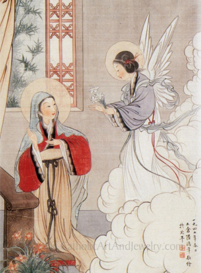 The Annunciation Chinese Catholic Art Print–8.5x11""