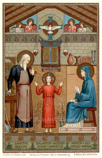 "Holy Family –8.5x11""–based on a Vintage Holy Card – painted by Benedictine Monks – Catholic Art Print – Archival Quality"