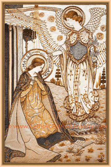 The Annunciation Mater Inviolata Embroideries Vintage Art Print y