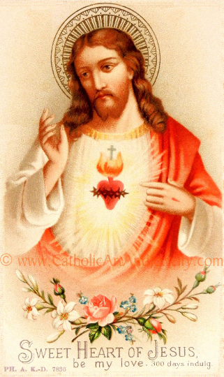 "Sacred Heart of Jesus –Sweet Heart of Jesus 8.5x11"" based on a Vintage American Holy Card – Catholic Art Print"