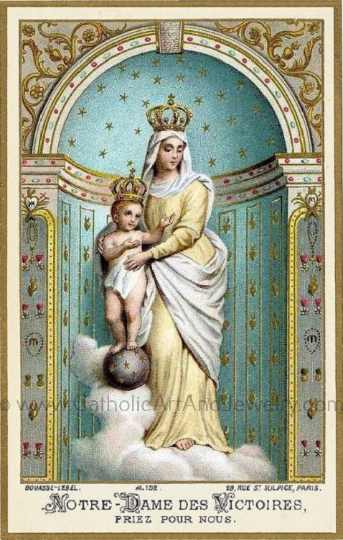 "Our Lady of Victory – 8.5x11"" based on a Vintage French Holy Card – Catholic Art Print"