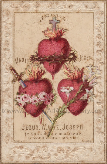 "Hearts of the Holy Family – 8.5x11"" Including the Chaste Heart of St. Joseph – based on a Vintage French Holy Card – Catholic Art Print. New!"