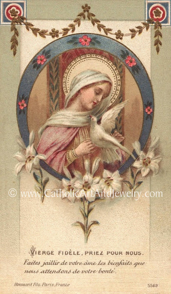 """Faithful Virgin, Pray for Us""– 8.5x11"" Print – Based on a Vintage French Holy Card"