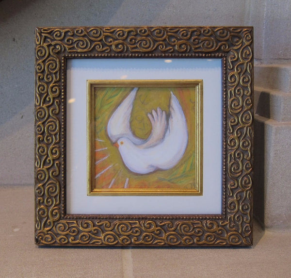 Holy Spirit Dove - Gold Dove - in Gold Frame