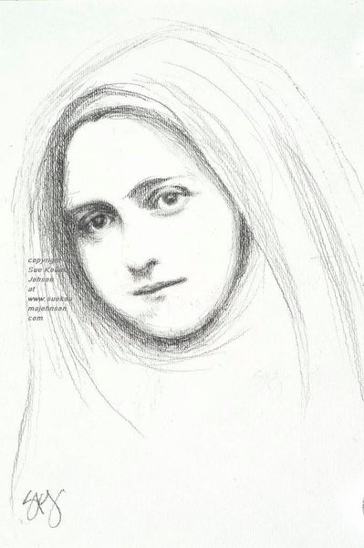 Saint Therese of Lisieux pencil drawing Art Print